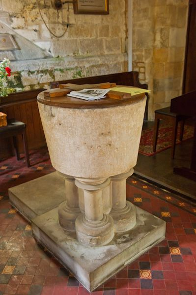 Charlton Abbots Church photo, 13th century font