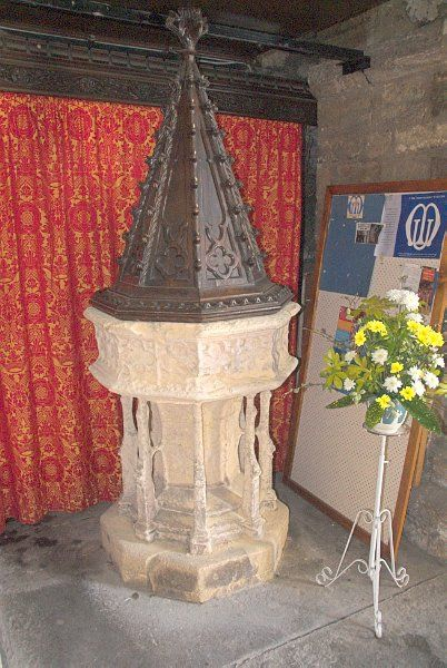 Chepstow Priory photo, The 15th century font