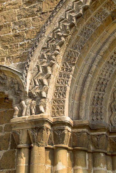 Chepstow Priory photo, Detail of the 12th century west doorway arch