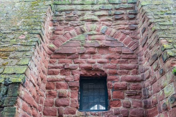 Chester Castle, Agricola Tower photo, A blocked arch between two buttresses