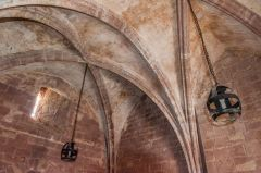 The vaulted ceiling