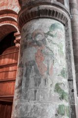 Chester, St John the Baptist Church, Romanesque nave pillar and wall painting