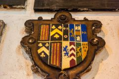 Chester, St John the Baptist Church, Elizabethan coat of arms of Alexander Cotes