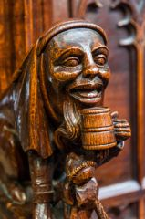 Carved bench end in the quire
