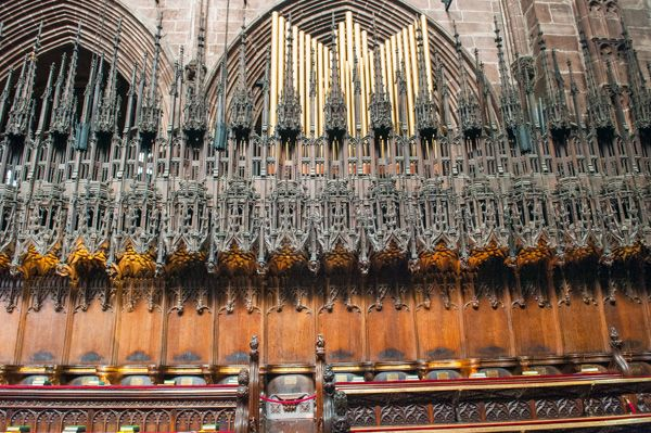 Chester Cathedral photo, Ornate quire stalls detail