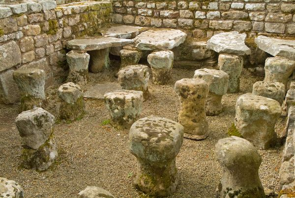Chesters Roman Fort photo, Remains of a hypocaust system