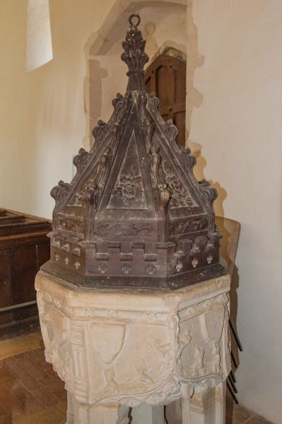 Chickney, St Mary's Church photo, Medieval font and carved wooden cover