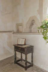 13th century piscina and 17th century communion table
