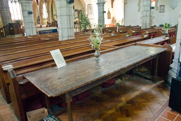 Chilham, St Mary photo, Old school table