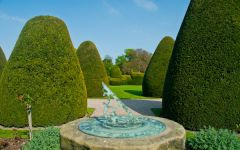 Chirk Castle, Sundial and topiary in the castle garden