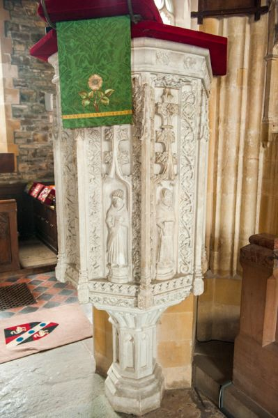 Chittlehampton, St Hieritha's Church photo, The carved stone pulpit, c. 1500