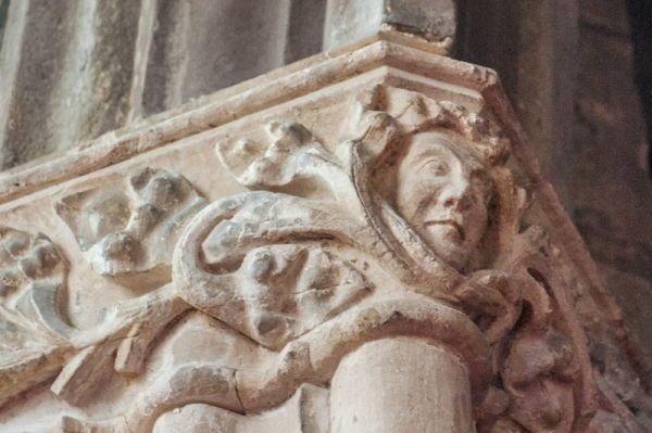 Chittlehampton, St Hieritha's Church photo, Carved face on a nave capital