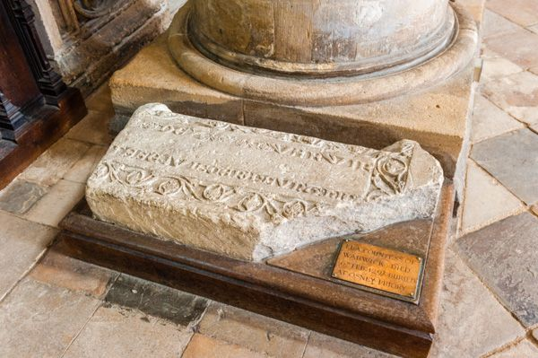Oxford, Christ Church Cathedral photo, Grave slab to Emma, Countess of Warwick, d. 1297