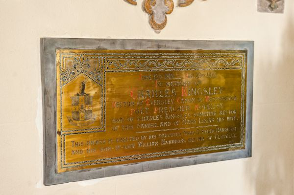 Clovelly, All Saints Church photo, Charles Kingsley plaque
