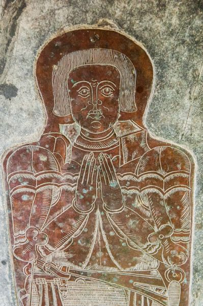 Clovelly, All Saints Church photo, Sir William Cary brass, c. 1471