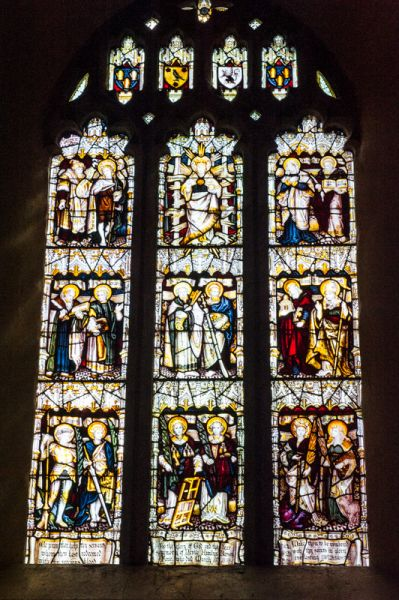 Clovelly, All Saints Church photo, The east window, by CE Kempe