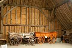 Farm wagons on display
