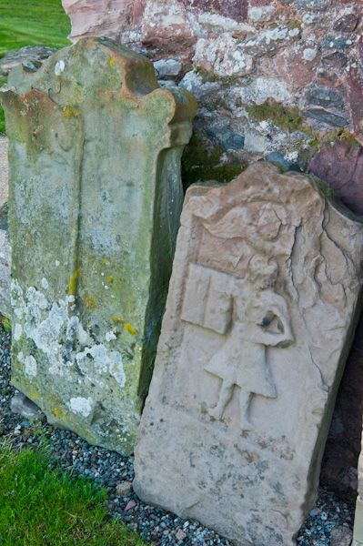 Coldingham Priory photo, 18th century grave stone