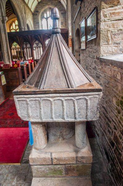 Coldridge, St Matthew's Church photo, The Norman font and 17th century cover