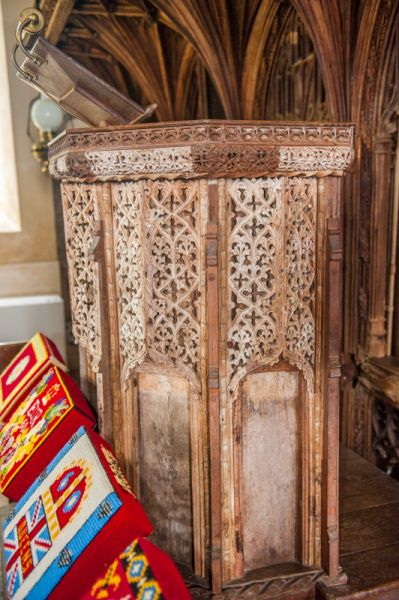 Coldridge, St Matthew's Church photo, The beautifully carved 15th century wooden pulpit