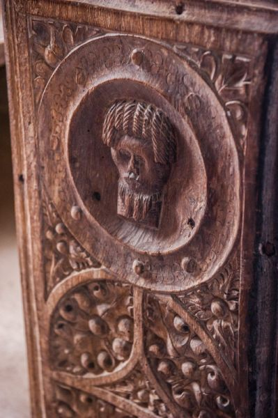 Coldridge, St Matthew's Church photo, Late medieval bench end carving