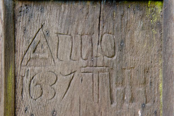 Coln St Dennis Church photo, 17th century graffitti