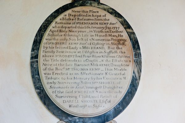 Coln St Dennis Church photo, Sir Benjamin Kemp memorial