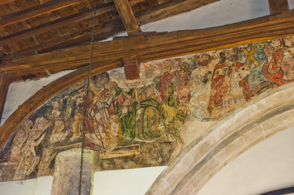 Combe Longa, St Laurence Church photo, Wall painting, north section