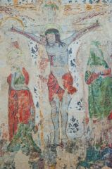 Combe Longa, St Laurence Church, Crucifixion wall painting