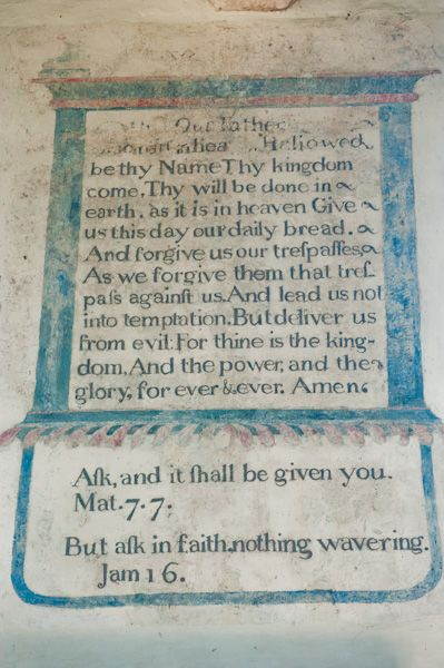 Combe Longa, St Laurence Church photo, Biblical text painting