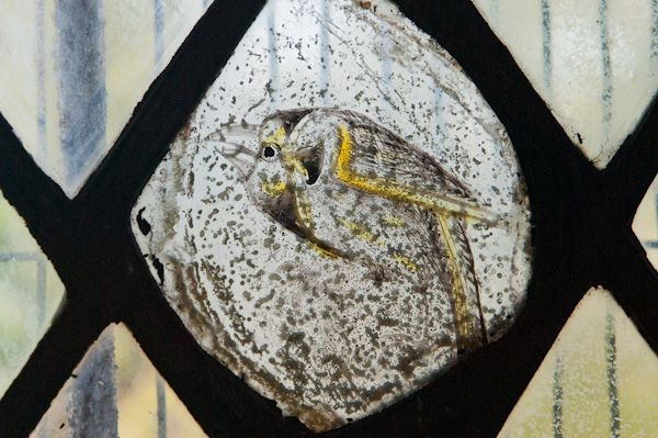 Combe Longa, St Laurence Church photo, Grisailles bird 2