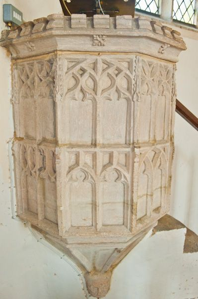 Combe Longa, St Laurence Church photo, Stone pulpit