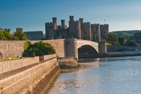 Conwy Castle photo, The castle from the far bank of the River Conwy