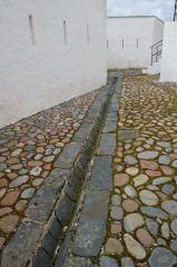 Drainage channel and cobbles