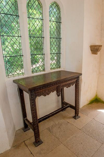 Cotehele, Chapel in the Woods photo, Woode altar table and east window