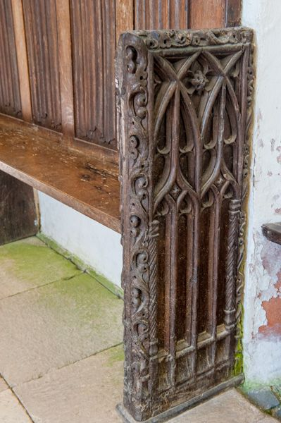 Cotehele, Chapel in the Woods photo, A carved bench end