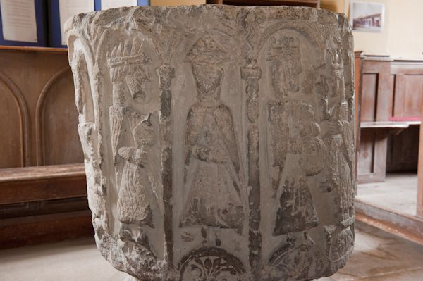 Cowlam, St Mary's Church photo, Font carving - Adoration of the Magi 2