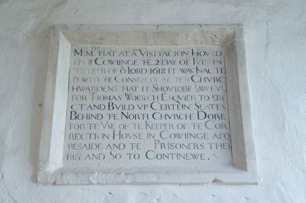 Cowlinge, St Margaret of Antioch Church photo, 17th century inscription