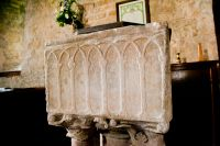 Crambe, St Michael's Church, Font carving
