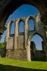 Creake Abbey, Looking through the nave arcade arches