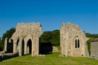 Creake Abbey, Looking east down the church