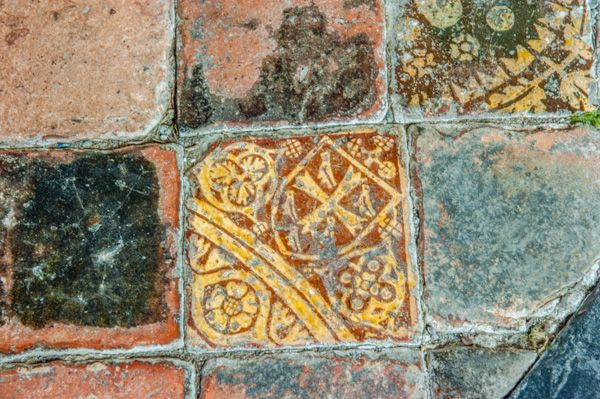 Croft Castle Church photo, 15th century heraldic floor tiles