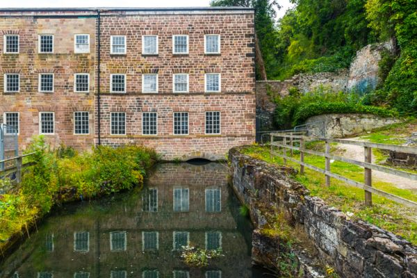 Cromford Mills photo, Bonsall Brook running under the first mill extension