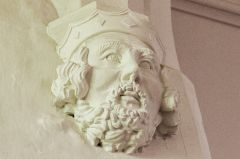 Carved corbel head of a king
