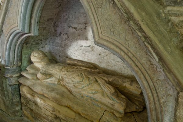 Curry Rivel, St Andrew's Church photo, 13th c figure, in the north chapel, thought to be Sabina de Lorty, founder of the chapel