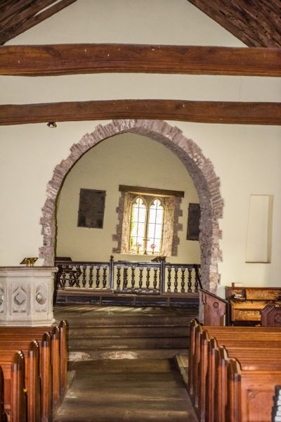 Cwmyoy, St Martin's Church photo, The skewed chancel arch and east window