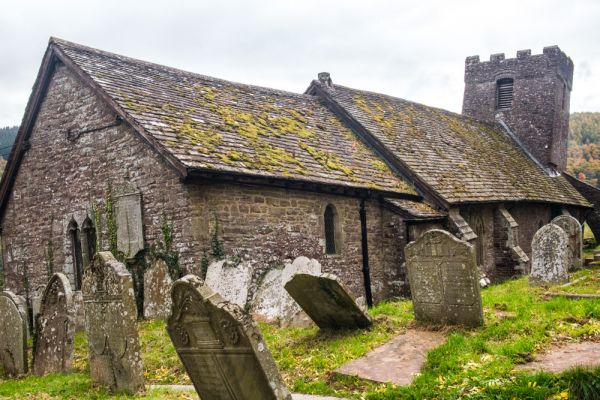 Cwmyoy, St Martin's Church photo, Another view of the leaning tower
