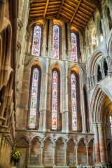 Stained glass windows in the transept