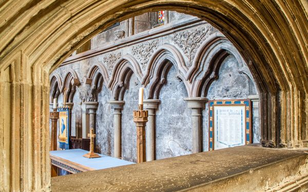 Hexham Abbey photo, A view of the high altar through a tomb niche