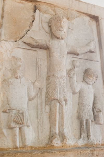 Saxon carving of Crucifixion scene